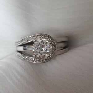 Avon Jewelry - Avon Silver Cubic Zirconia Wedding Ring Set